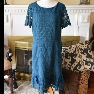 Plus Size TALBOTS Blue Crochetl Lace Dress Size 16
